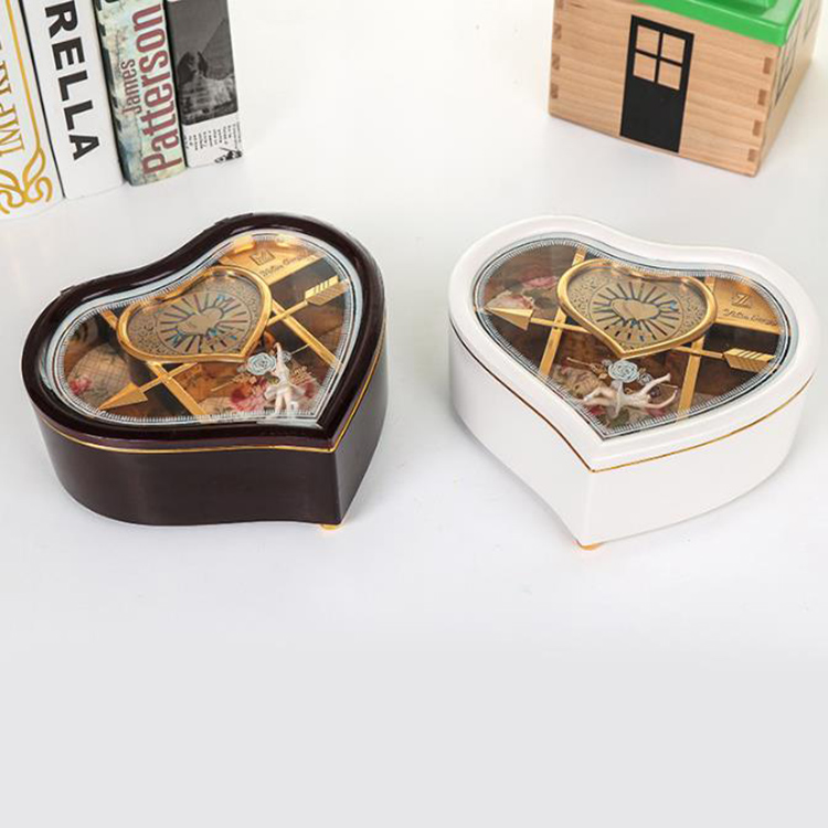 Dancing Girl Music Jewel Box Birthday Gift Heart Shape Music Box with Anastasia