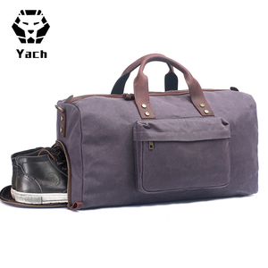 European vintage style high-end canvas duffle weekender men's duffel traveling overnight bag with shoes compartment