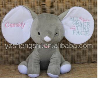 free sample pink grey plush stuffed elephant toys with big ears cute stuffed baby elephant toy
