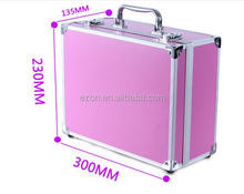 small Locking aluminum tool case beauty case with mirror and battery powered cosmetic case
