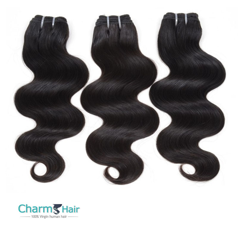 Top Grade Peru-vian Body Wave Vir-gin Hair Silky Soft 3Pcs lot  Charms Hair Products Natural Black Hu-man Hair Weave 12-28inch