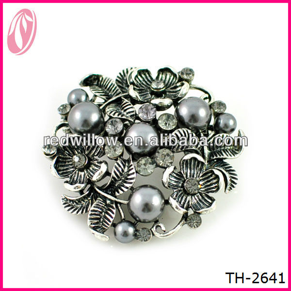 Metal Vintage Antique Alloy Lily Flower Ladies Beaded Magic Brooch ...