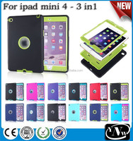 Hybrid rubber case for ipad mini 4 back cover / 3 in 1 stand housing for ipad mini 4 silicon case / for ipad