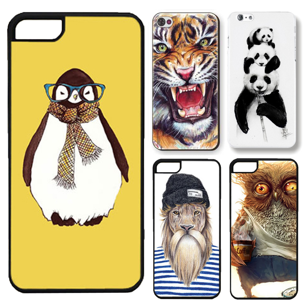 For Apple iphone 5 5s SE Fashion 3D Cute Animal Panda Tiger Owl Cartoon Painted Case