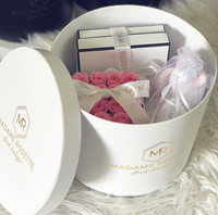 Luxury Round Christmas Rose Flower Gift Paper Packaging Box With custom logo