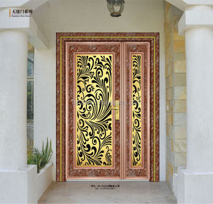 Red marble finish stainless steel apartment door