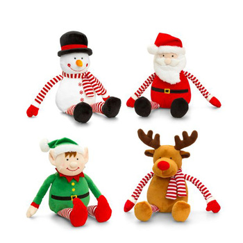customized christmas decoration reindeer santa claus elves christmas plush toys with long arm