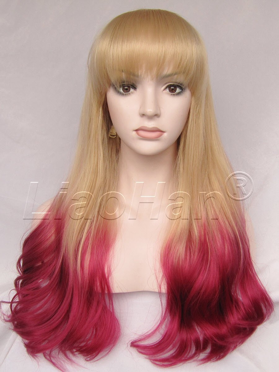 Liaohan® Fashion Long Wavy Ombre Wig Dip Dye Hair Wig Two Tone Synthetic  Wigs for 5ea7cc63f