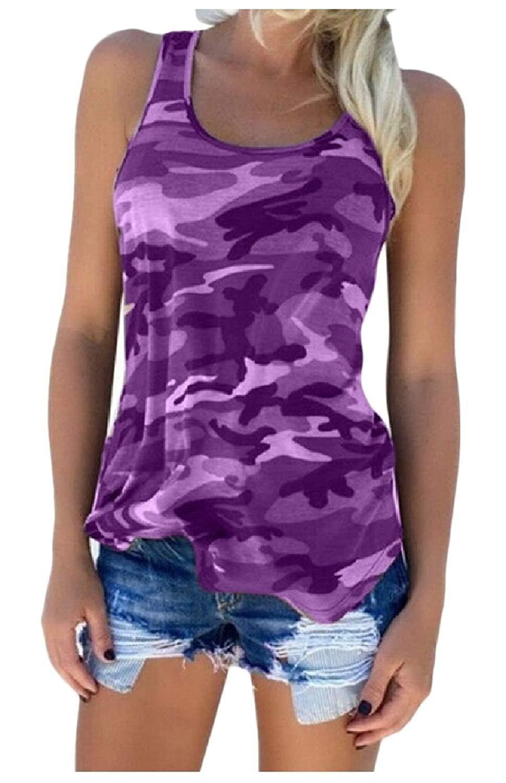 876c57e3abc19 Get Quotations · XQS Womens Shirt Casual Camo Sleeveless Camouflage Tank Top