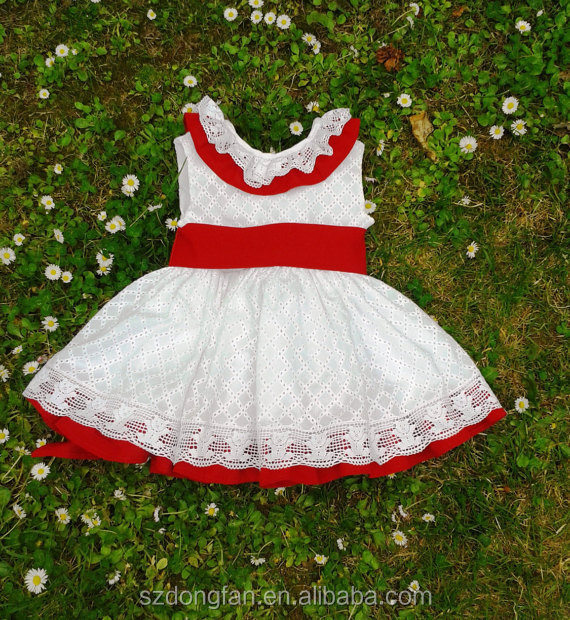 Toddler Girls Red Christmas Dress Baby Kids Spanish Handmade Lace Dress