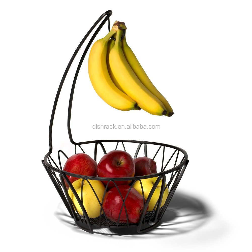 fruit basket with banana holder  chrome metal wire hanger    - fruit basket with banana holder  chrome metal wire hanger   inchestall