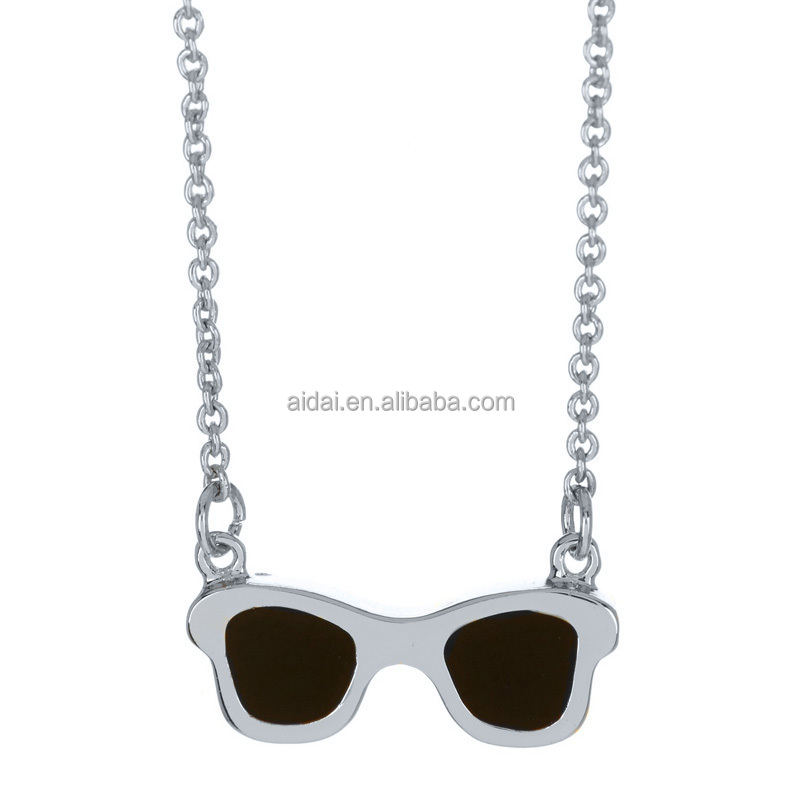 fashion jewelry Beach glasses necklace stainless steel pendent for woman