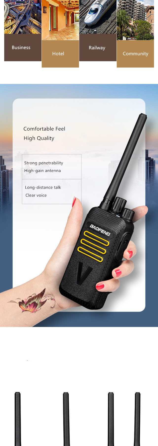 2019 plus récent vente en gros baofeng HM-618 uhf portable talkie-walkie radio bidirectionnelle (4 paquets)