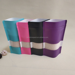 colorful printing kraft paper bag with window and ziplock in stock with size 12cm*20cm