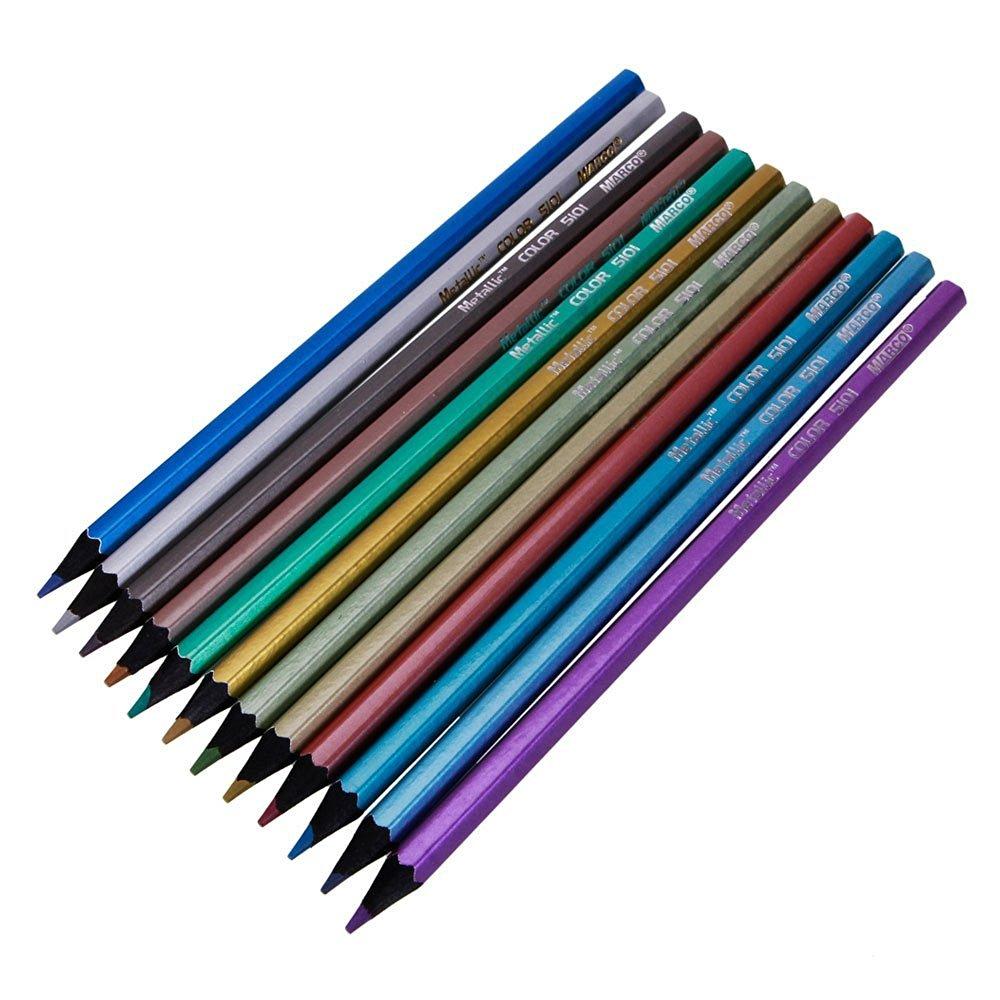 12 Colors Metallic Color Drawing Pencil 12 Assorted Colors Sketching Art Pencils
