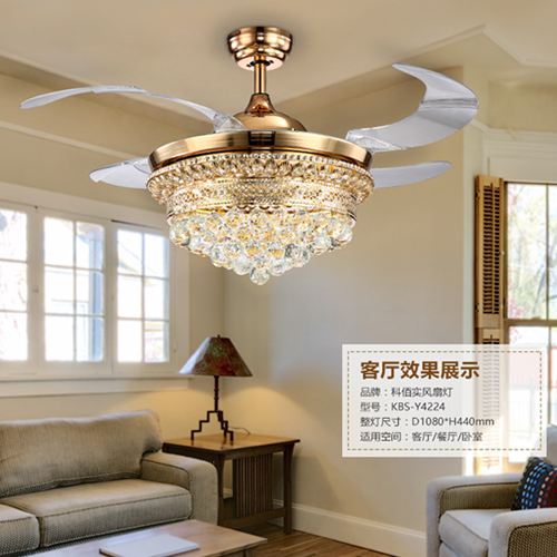 42 Inch 4 Invisible Retractable Blades Golden Crystal Chandelier Ceiling Fan Buy Crystal Ceiling Fan Abs Blade Invisible Hanging Ceiling Fan 42 Inch