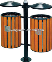 Trash can/ outdoor metal garbage bin/ wooden and metal garbage dustbin