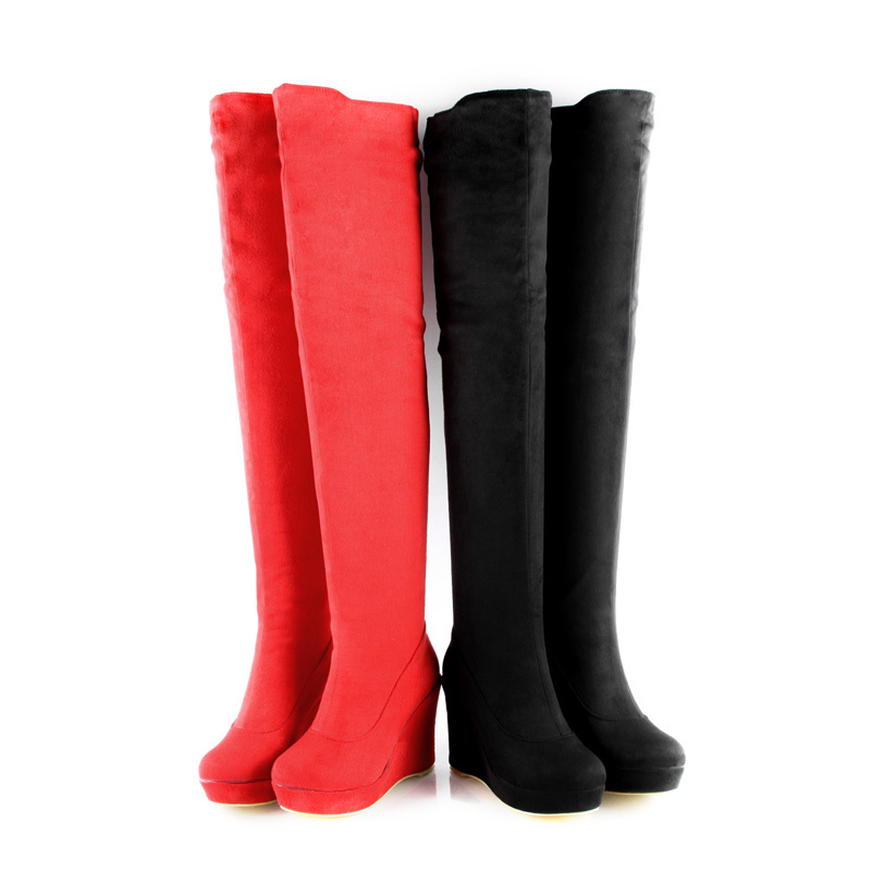 Ladies' Fashion Platform Shoes Stretch Faux Suede Wedge Heel Women's Over Knee Boots Black/Blue/Red US 3-10.5/ EU 33-43 b361