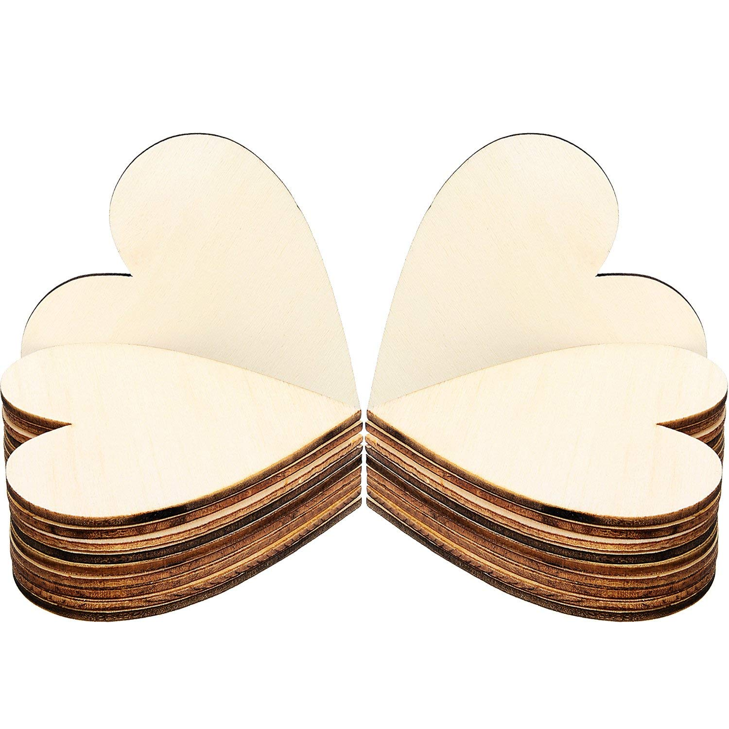 Frienda 3.15 Inch Wood Hearts Slices Wooden Discs Heart Shaped Embellishment for Wedding, Decor Arts Crafts DIY, 50 Pieces