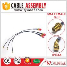 high quality Factory price sma female bulkhead RF connector to U.FL with 1.13 cable assembly sma type pigtail