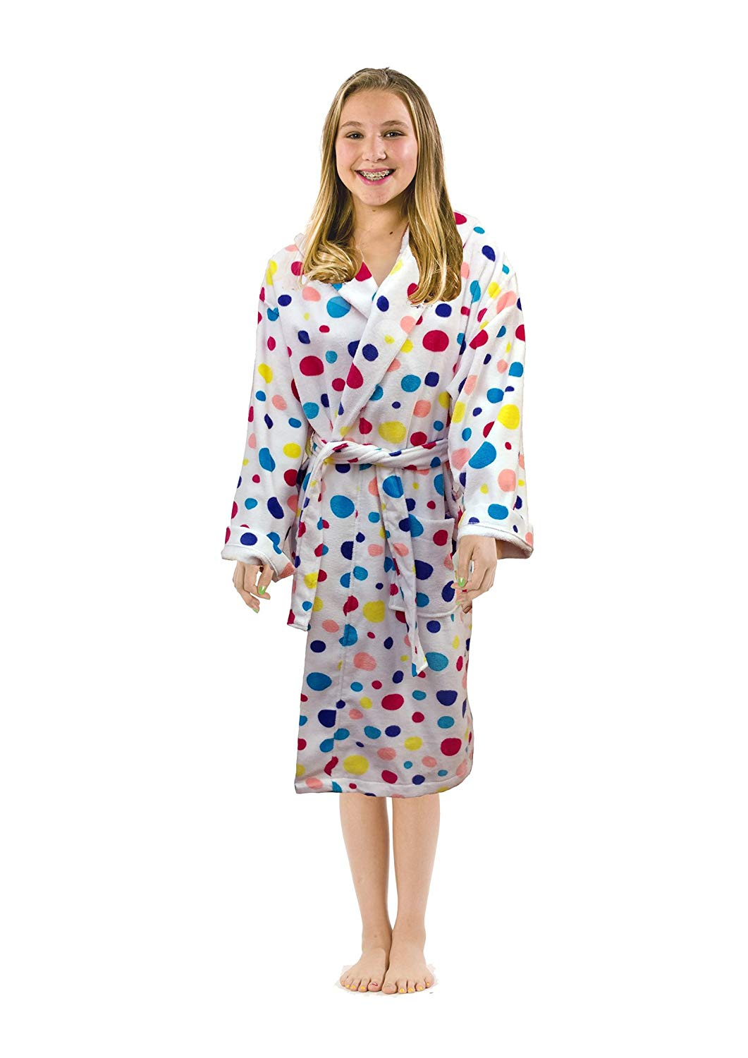 ce0b432d93 Get Quotations · Polka Dot Terry Cloth Cotton Hooded robes bathrobes for  girls