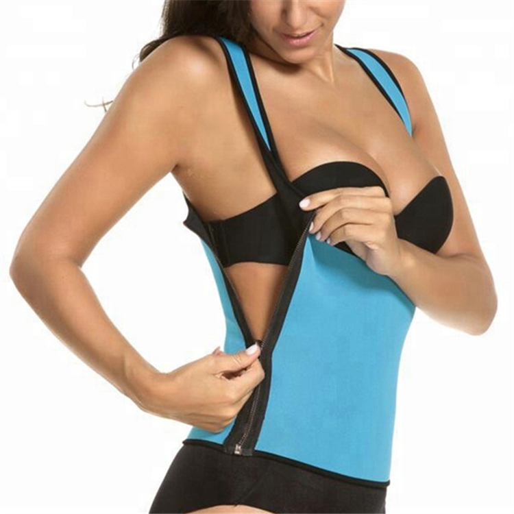 Womens Spandex Exercise Seamless Waist Shaper Slimming Neoprene Sweat Sauna Vest With Side Zipper