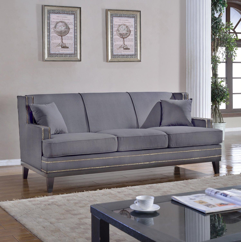 Modern soft linen fabric sofa with nailhead trim detail light grey