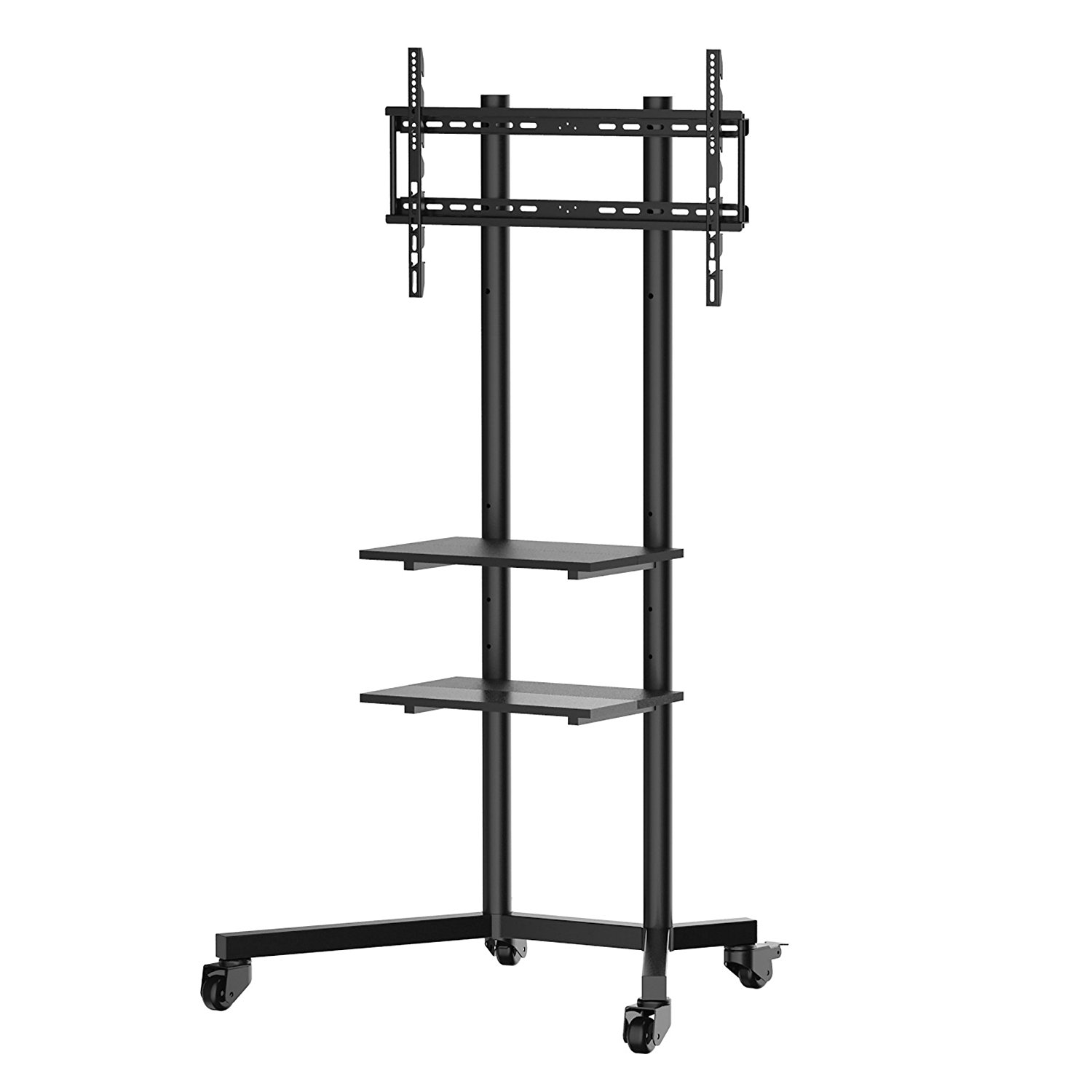 MMT Mobile TV Cart Trolley Floor Stand on wheels with TV Mounting Bracket 2 Shelves Castors For 32-65 Inch LCD, LED Plasma Screens Up To 50Kg