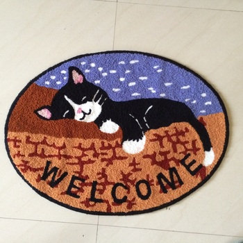 LAGHCAT New Embroidery Art Cat Welcome Round Shaped Bedroom Living Room  Area Rug Carpet, Childrenu0027s
