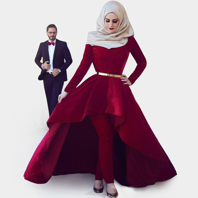 Get Quotations · Moroccan Kaftan Muslim Evening Dress with Sleeve Arabic  Style Velvet Burgundy Prom Dress Front Short Back 3659491fd7ab
