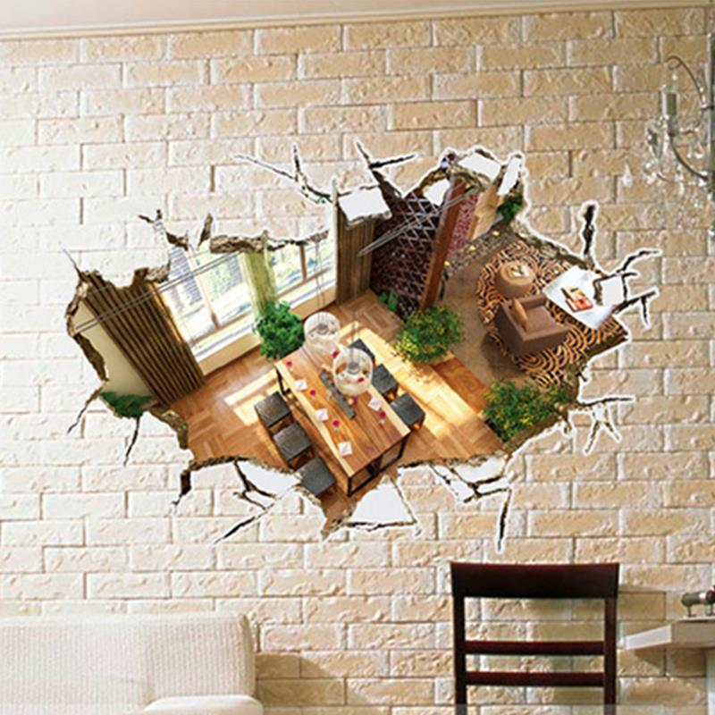 60*90cm 3D Warm Sunshine Livingroom Home Decoration PVC Wall Decals Adhesive Family Wall Stickers Mural Art Bedroom Home Decor