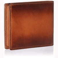 Brown color oil waxed genuine leather wallets rfid blocking minimalist slim travel wallet for men