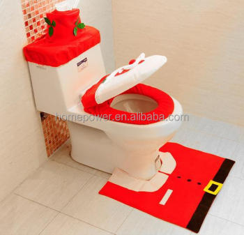 Christmas Bathroom Decoration Hy Santa Toilet Seat Cover And