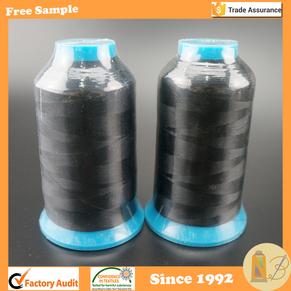 Set of 2 Huge Spool 5000M Black Bobbin Thread for Embroidery Machine and Sewing Machine