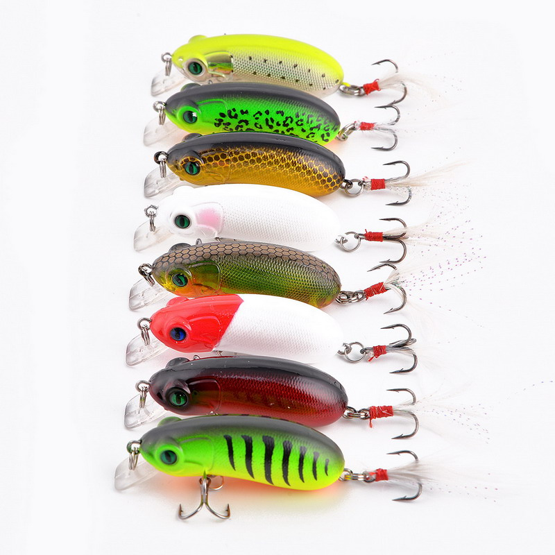 8Pcs/Pack 6cm/10gswimbait Topwater Floating Popper Lure Hooks tackle tool baits Lures