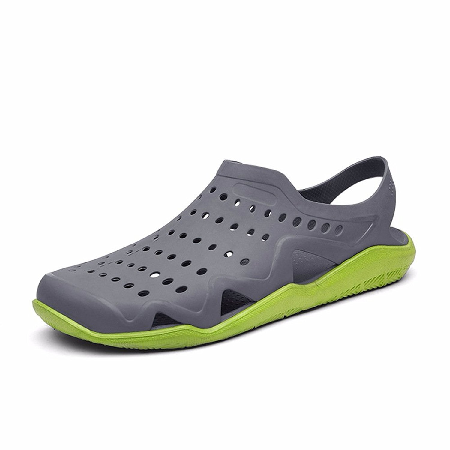 sunny holiday Mens Comfort Walking Water Shoes Pool Shower Saltwalter Sandals Outdoor Beach Aqua Walking Anti-Slip Clogs Shoes Grey/Green EU41