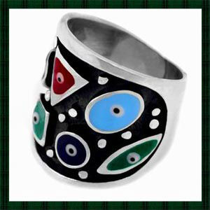 925 Silver Enameled Dark Blue Lucky Eyes Charm Ring. Turkish Evil Eye Jewelry