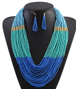 Latest design beads necklace acrylic miyuki seed bead choker necklace and earrings jewelry set