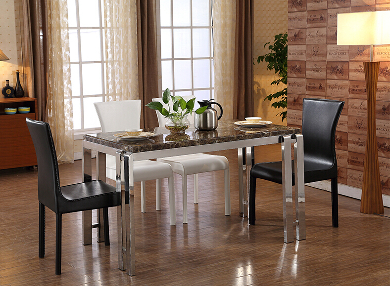 Leather Metal Dining Chair European Style Italy Design