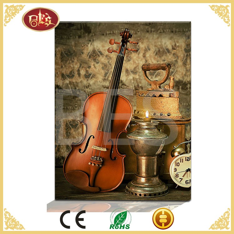 custom vintage violin led canvas painting for home decoration
