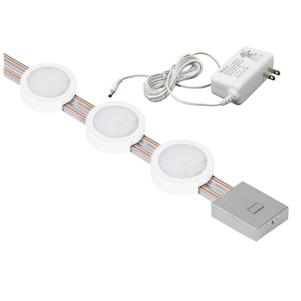 """Jesco Lighting KIT-RZ-T18-RD3-30wH Radianz 3-Light Dimmable Round LED Track Lighting Kit, White, 18"""""""