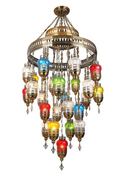 Multi Colored Gl Ball Chandelier