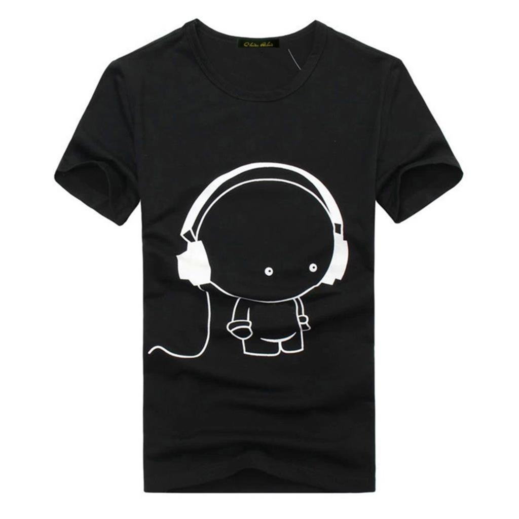 Mens T Shirts Fashion 2015 Headset Cartoon Printed Casual T Shirt Men Brand T shirt Marcelo