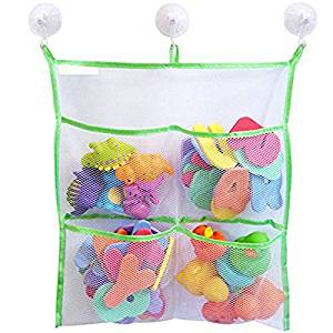 """""""BOO BOO"""" Bathtub Organizer - 4 Pockets & Massive Toy Bin -3 Lever Lock Suction Cups + 3 Double Sided Stickers for Porous Walls - Drip Dry Mold Resistant Mesh Bag-With Heavy Duty Trimming"""