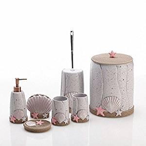 BBSLT Seven-piece bathroom set-bathroom Beach netcollect resin bathroom suite toilet set Cup toilet
