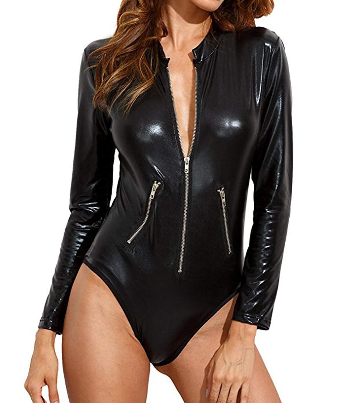 Lannorn Women/'s Black Leathery Long Sleeve Zip Front Bodycon Clubwear Bodysuit Romper Top.