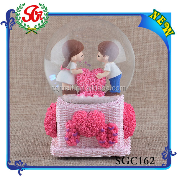 SGC162 2015 Gift Event Party Resin Rose Water Globe/Photo Frame Water Globe/Snow Water Globe