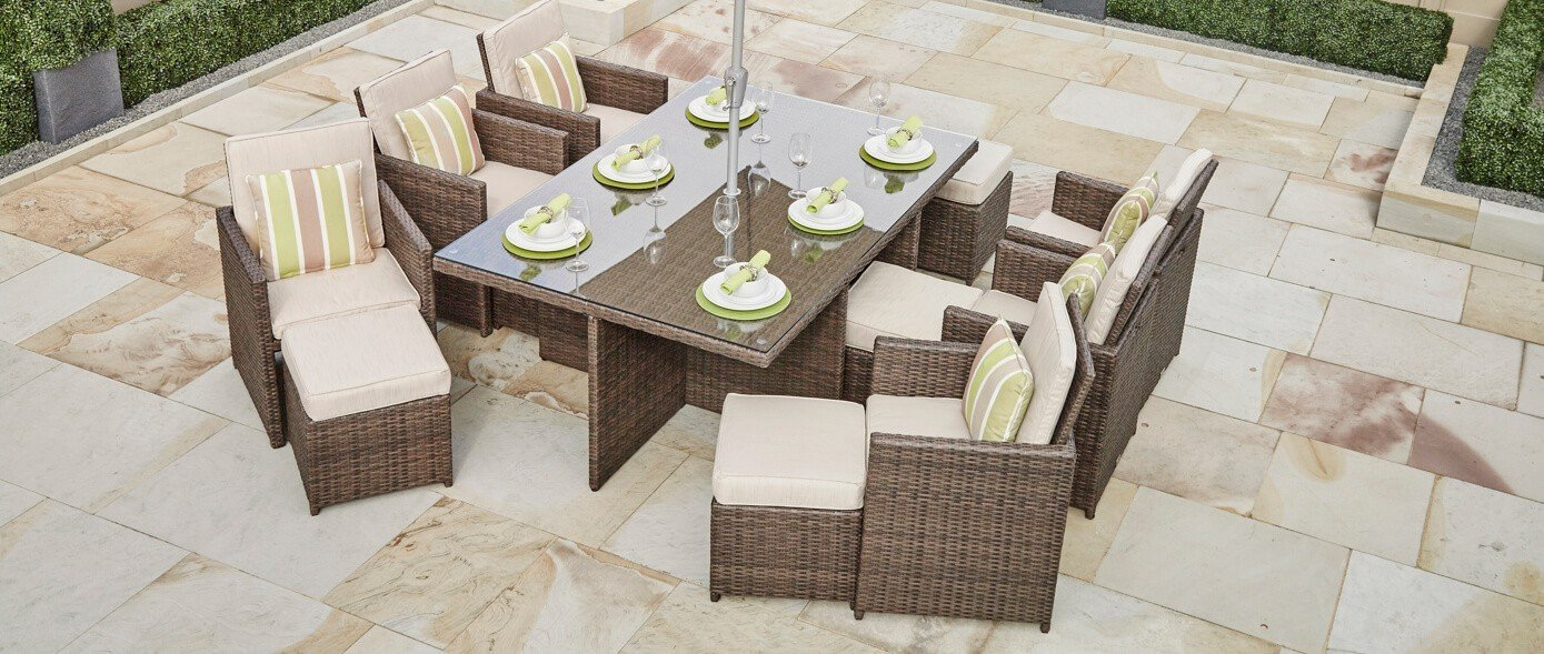 Direct Wicker 11 PCS Patio Furniture Dining set Garden Outdoor patio furniture sets Wicker Outdoor Patio Cube sets Mixed Brown Rattan & Cushions (11PC SETS)