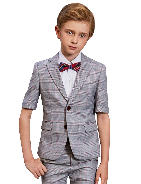 f61074c5915 Get Quotations · ELPA ELPA Plaid Suit Light Gary Four Pieces Children s  Dress Summer Boy Shorts Suit Performance Clothing