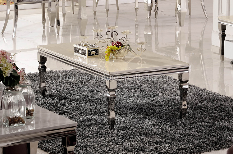 Hot sale luxury Jazz white marble top metal frame centre coffee table CT076